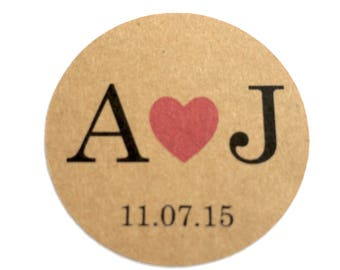 20 Personalised Wedding Engagement Kraft Stickers Couple Initials & Date