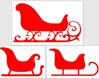 Sleigh Sled - SVG  PDF PNG Jpg File - Custom Designs & Wording Welcome Silhouette- Cricut Compatible