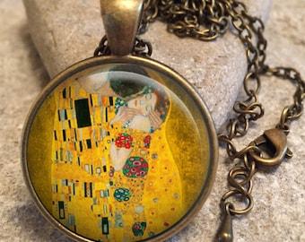 The Kiss Gustav Klimt Necklace Pendant, kiss, gustav klimt, gold, gift for her, klimt, the kiss