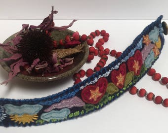 Over the Moon- embroidered felt cuff bracelet by Caline Welles