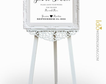 Wedding Guest Book Sign | Please Leave Your Wishes For The New Mr and Mrs | Printable Wedding Decor |  SKU# CWS307_1722C
