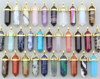 Healing Crystal Pendant. Gold Crystal Pendant. Gemstone Pendant. Stone Pendant. Crystal Point Pendant. Boho Hippie Crystal Point Pendant.