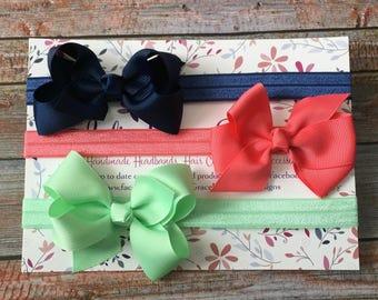 3 Bow Headbands, Bow Headband Set, Baby Headband, Newborn Headband, Baby Girl Headband, Toddler Headband, Infant Headband, Headband Gift Set