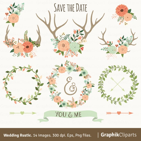 Rustic Wedding Clipart Vector Flowers Floral Antlers Wreaths Arrows Laurels 14 Images 300 Dpi Eps Png Files Instant Download