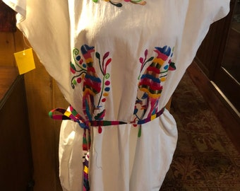 Otomi Mexican Hand Embroidered Dress, one size, fits  Med-1XL
