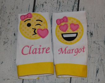 Personalized Emoji Burp cloth Set of 2 Monogrammed