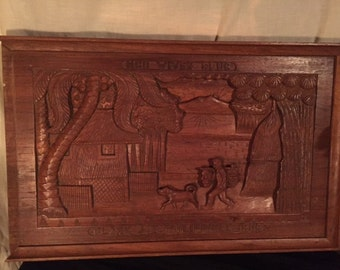 """NCO Wives Club- """"Clark A.B.  Phillippines"""" -Wood Carving"""
