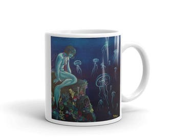 The Sleeping Mermaid by Mary Bottom Mug made in the USA Ceramic Mug Available in Two Sizes!