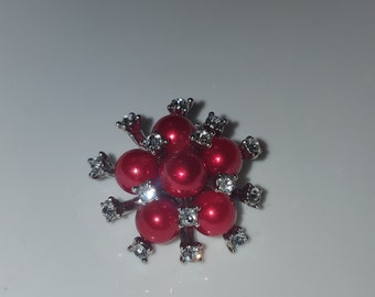 1 pc 20mm Red Rhinestone Charm Snap