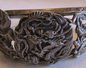 Sterling Silver Dragon Cuff Bracelet