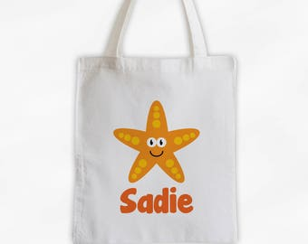 Personalized Star Fish Canvas Tote Bag - Sea Animal Custom Travel Overnight Bag for Boys or Girls - Ocean Reusable Tote (3045)