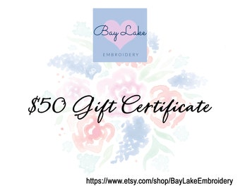 Gift Certificate for Custom Embroidery