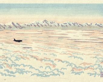 Clouds and Snow - Pyrenees mountains, hand pulled moku hanga woodblock print