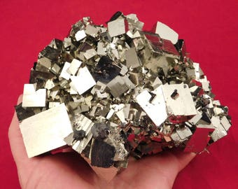A Huge! AAA Pyrite Crystal CUBE Museum FLOATER Cluster! Found in Peru!! 2222gr