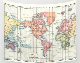 World Map Wall Tapestry - dorm room decor-  vintage map, map of continents, travel decor, wall decor atlas, den, bedroom, college dorm room