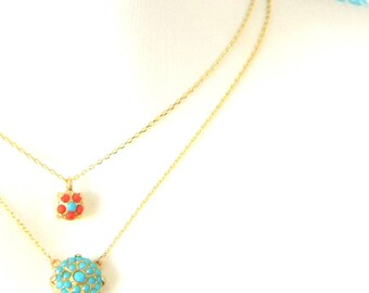 Turquoise Coral Gold Double Strand Necklace
