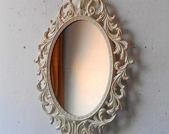 Oval Princess Mirror In Vintage Metal Filigree Frame13 By 10 Inch White Frame