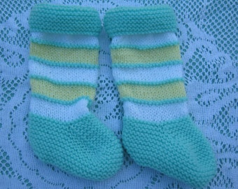 Beautiful Baby Pale Green, Yellow and White Socks Hand Knitted for a Baby