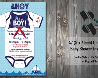 Personalized Ahoy It's a Boy Baby Shower Invitations Nautical Theme with Sailor Onesie