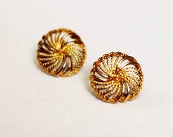 Vintage Goldtone Napier Filigree Pinwheel Flower Post Earrings