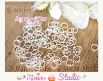 10 rings 5mm plated silver Sterling 925th - jump rings - jump rings