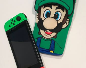 Luigi Nintendo Switch Case Super Mario Brothers Gaming Accessory Carrying Case Embroidery