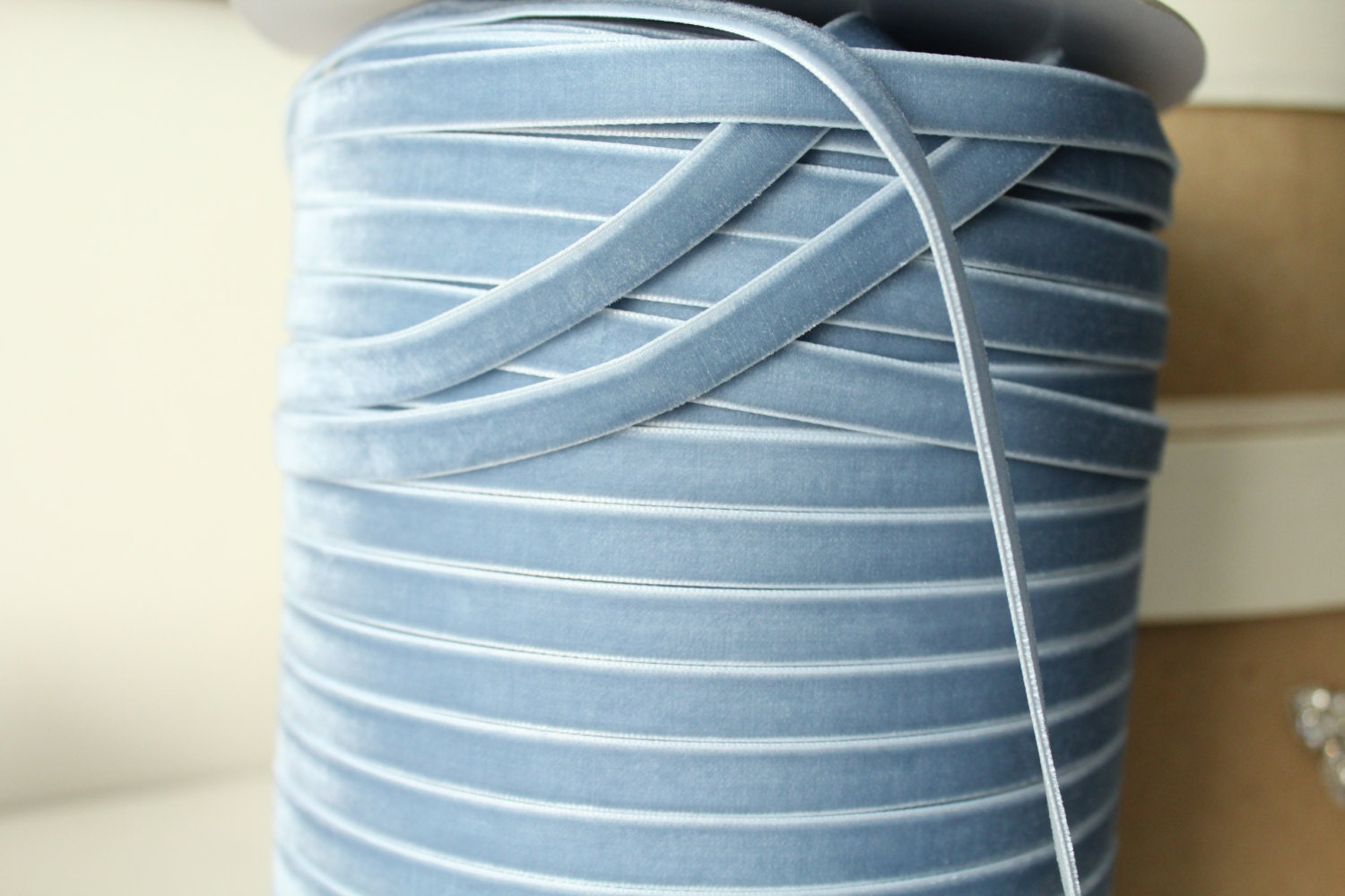 3/8 inch 10 mm French Blue Velvet Ribbon / Single-face