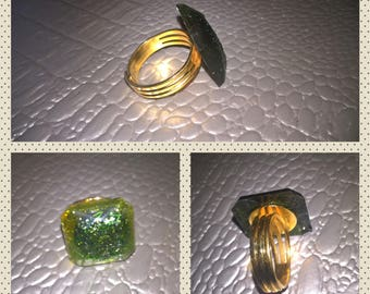 Resin gold tone Adjustable ring jewelry