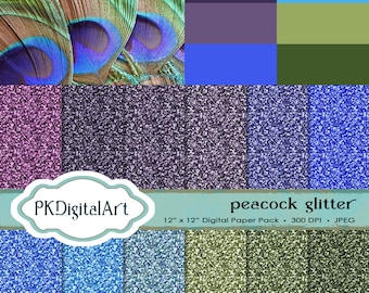 Glitter Paper Pack of Peacock Feathers,Colors of Life,  Glitter Digital Papers suitable for scrapbooking, cards, background