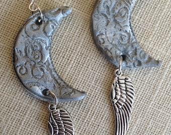 MOON ANGEL, silver-gray crescent moon, silver winged charm, dangle, chandelier earrings, gypsy, goddess, celestial, zen, divine feminine