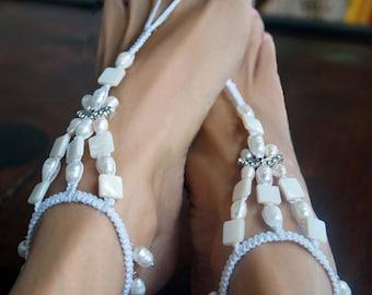 Bridal Barefoot Sandals, Pearl Beach Wedding Sandal, Romantic Butterfy Rhinestone Barefoot Sandal, 1 Pair