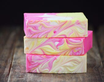Guava + Fig Soap | Vegan Swirl Artisan Cold Process Soap, Handmade Soap Gift, Scented Homemade Soap Bar, Pink and Yellow Handcrafted Soap