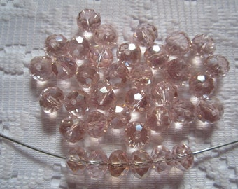 25  Pink Blush AB Faceted Rondelle Crystal Beads  4mm x 6mm