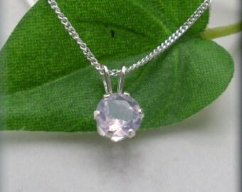 Lavender Necklace, Sterling Silver, Solitaire Pendant, Purple Quartz, Minimalist, Everyday Jewelry, Simple, Quartz Pendant