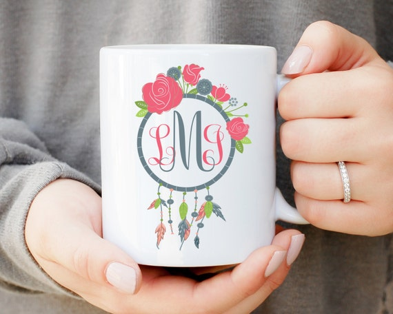 Custom Monogram Mug, Dreamcatcher Monogram Mug, Personalized Coffee Mug, Initials Mug, Personalized Gift, Southern Monogram, Monogrammed Mug