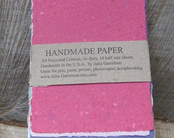 Upcycled Handmade Paper from Recycled materials. Eco- Friendly, Mixed Rainbow Reclaimed colors, 8 1/2 x 5.5 inches-Recycled Handmade Paper