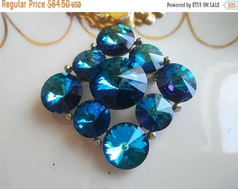 ON SALE Weiss Rhinestone Brooch * Blue Rivoli Designer Signed Vintage Jewelry * 1950's Collectible Jewelry