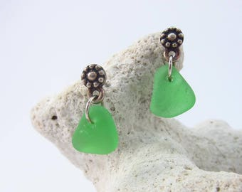 Flower post earrings with green sea glass from Cape Breton, Nova Scotia
