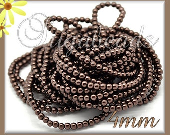 200 Chocolate Brown Glass Pearls, Round Pearls, Brown Beads 4mm