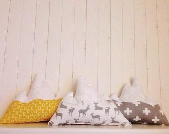 Yellow grey mountain decorative pillow kid room modern decor nursery woodland cushion
