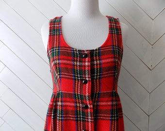 Paint it Plaid | Vintage 1970's Pinafore Plaid Jumper Dress | S M