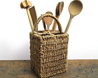 Vintage Cutlery Storage Kitchen Utensil Holder Flatware Caddy Wicker Woven Coiled Rye Kitchen Organizer Compartment Storage Basket Rattan