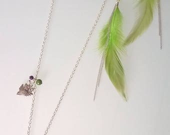 Feather gift necklace/ring/earrings set of earrings with owls