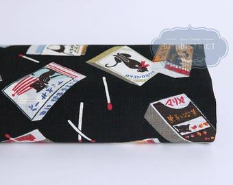 Black pattern Japanese cat fabric
