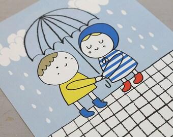 Rain lovers. Digital print. Kids room. Nursery baby. Decor walls