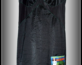 "Rockabilly Phychobilly ""The Bride of Frankenstein"" Full Slip Black Lingerie Nighty Size S"