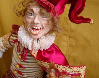 Art interior doll, Venetian character MATTACCINO Eduardo, collectible doll ooak, vivid character doll