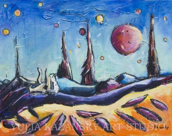 Original acrylic art Alien Planet Acrylic painting Landscape painting on canvas Space art Science fiction artwork Planet of Thousand Moons