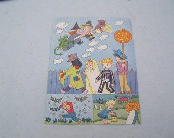 Vintage children's book illustration Halloween children trick or treat pumpkin JOL jack o' lantern witch black cat