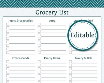 Perfect Grocery Shopping List With Categories  Fillable   Printable PDF   Instant  Download